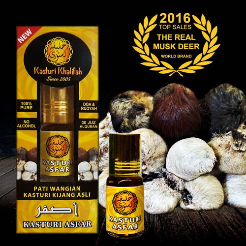 Kasturi Kijang Asfar 3.5ml Tulen Genuine Musk Deer Kuning Asli Original
