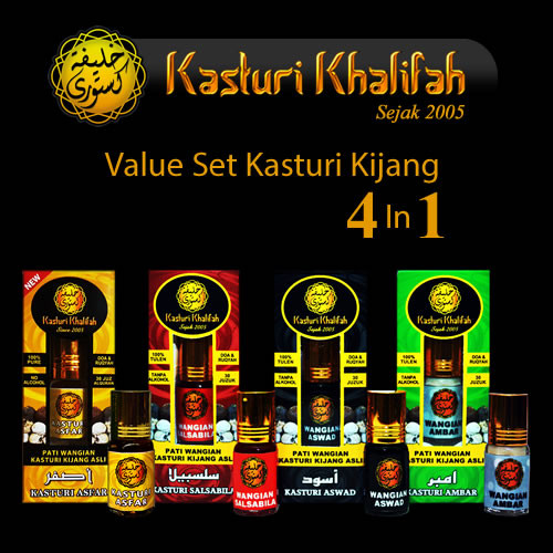 Set Value Pack Kasturi Kijang Tulen 4 in 1 Genuine Musk Deer, Asfar, Aswad. Ambar, Salsabila